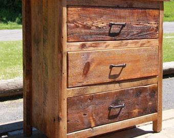Three Drawer Barn Wood Dresser