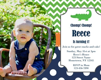 Preppy Alligator birthday invitation, digital file download