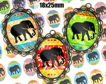 Digital Collage Sheet BLACK ELEPHANTS 18x25mm Printable Oval Download for pendants magnets Cabochons jewelry