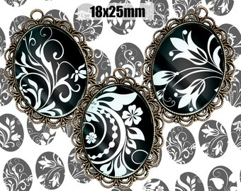 Digital Collage Sheet BLACK WHITE FLORAL 18x25mm Printable Oval Download for pendants magnets Cabochons jewelry