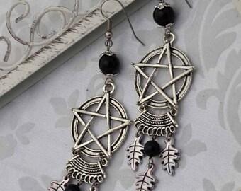 Natural Magick - Pagan Earrings - Wiccan Earrings - Pentagram Earrings Silver and Onyx