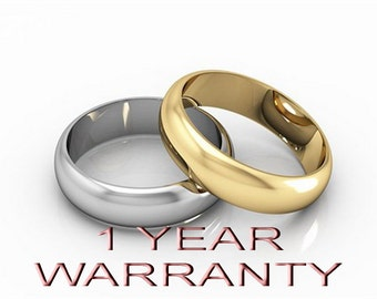 1 Year Warranty on Wedding Bands Only-