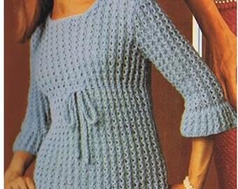 Top Pattern Sweater Pattern Blouse Pattern Vintage 70s KNITTING PATTERN