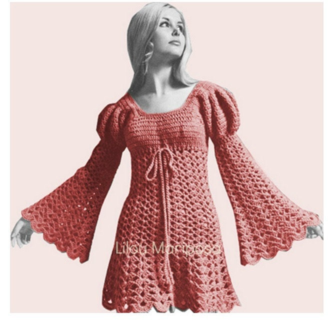 Crochet Dress Pattern Vintage 60s Crochet Juliet