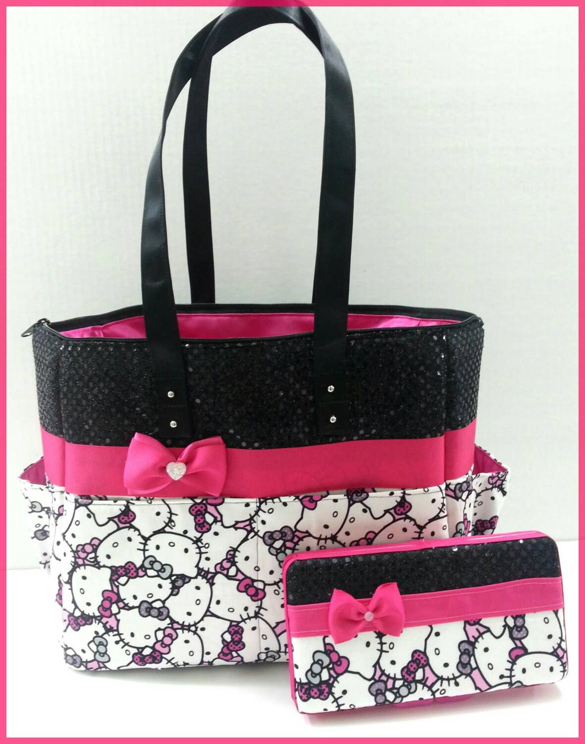 hello kitty diaper bag black sequin hot pink bow matching. Black Bedroom Furniture Sets. Home Design Ideas