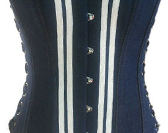 Simple Blue Denim Overbust Corset with Both Side Lacing