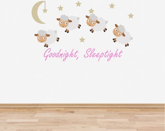 Wall Decal Nursery Goodnight Sleep Tight Counting Sheep Baby Room Wall Sticker Pink