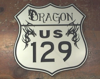 Tail of the Dragon US129 engraved road sign hanging man cave garage motorcycle