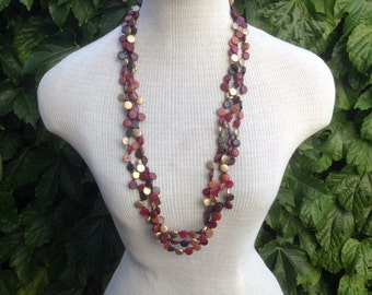92} Fallen Leaves Wooden Beads Necklace 32 inches