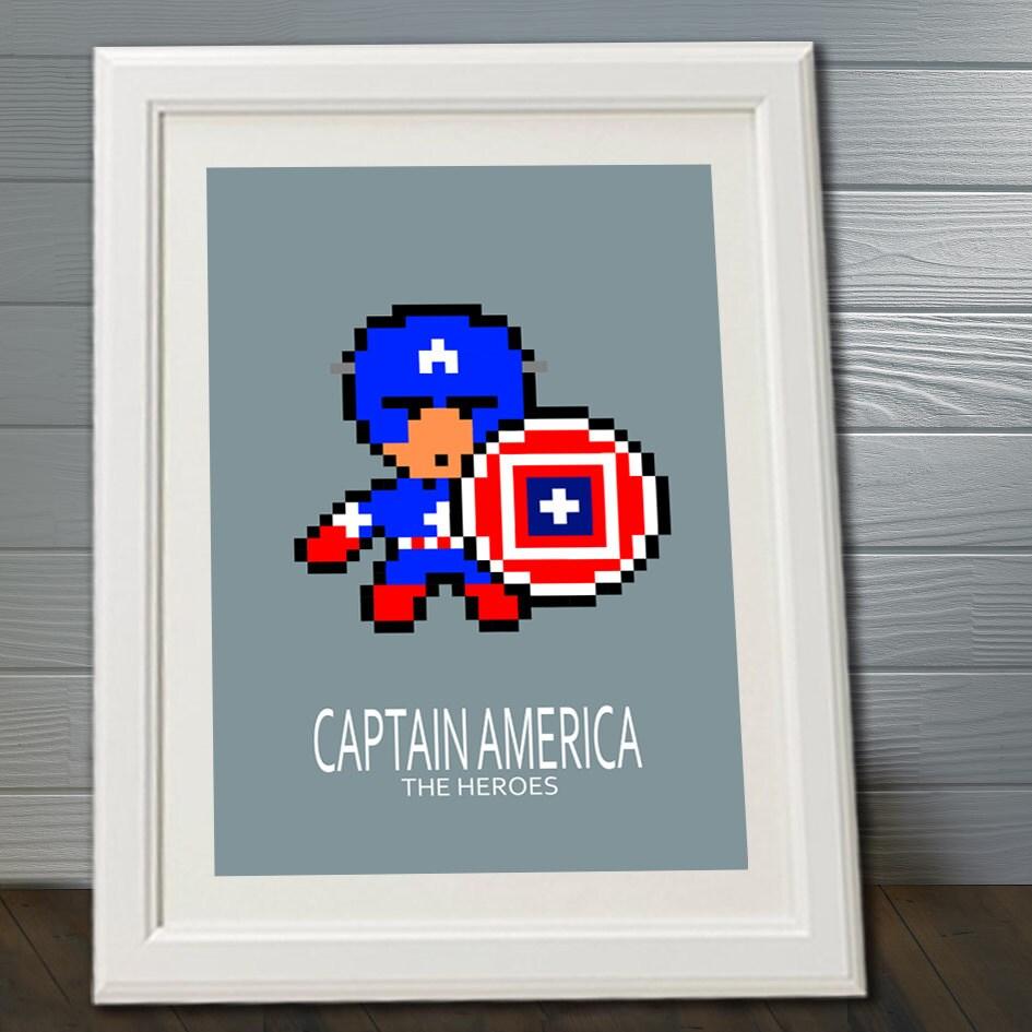 affiche super h ros captain america avec gros pixels poster. Black Bedroom Furniture Sets. Home Design Ideas
