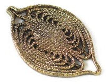 Metal 30x20mm Filigree Leaf - Antique Gold / Bronze / Antique Silver - Pack 6