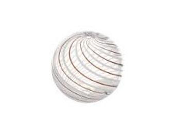 Glass Hand Blown Beads 14mm - Pack 5 - Brown White Swirl