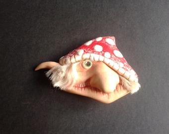 mushroom amanita ooak lapel pin