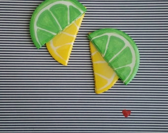 Lemon-lime Wedge Earrings