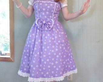 Purple Floral Lolita Jumperskirt plus Headbow