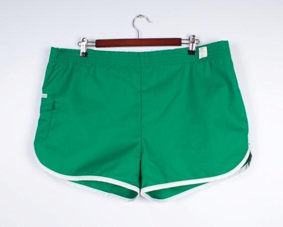 New 70s 80s Men Running Shorts Green Vintage Beach Shorts