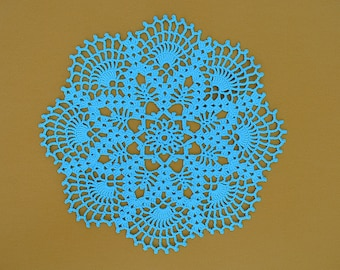 Large Blue Doily, Crochet Wedding Blue Doily, Crochet Lace Doily, Hand crochet blue doily, New crochet lovely blue placemat
