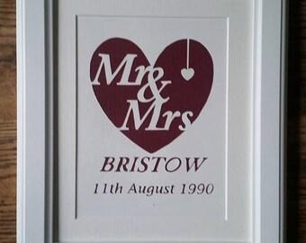 Wedding Papercut Mr&Mrs