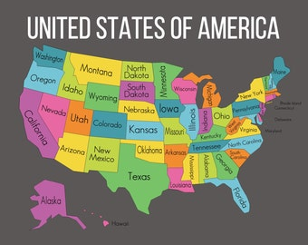 United States Map Etsy - State map of usa
