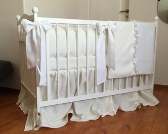 Ivory and white crib bedding set /// Crib bedding, Nursery bedding, Cot bedding, Baby bedding, Crib bumper and skirt