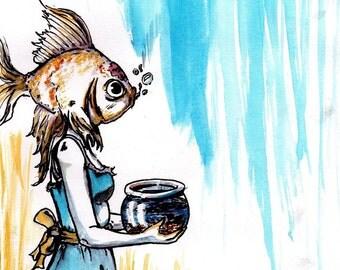 Goldfish Surreal Painting Art Print