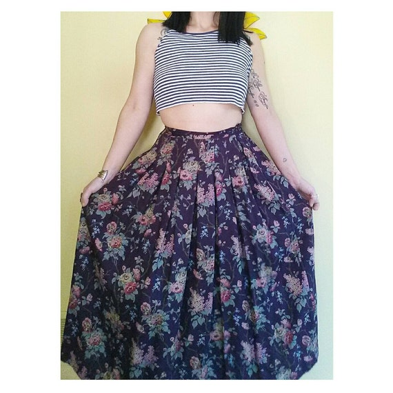90 s floral high waisted maxi skirt vintage purple high