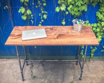 Rustic steel and wood desk | pipe and wood coffee table | rustic industrial desk | reclaimed wood option table| iron and wood table tv stand