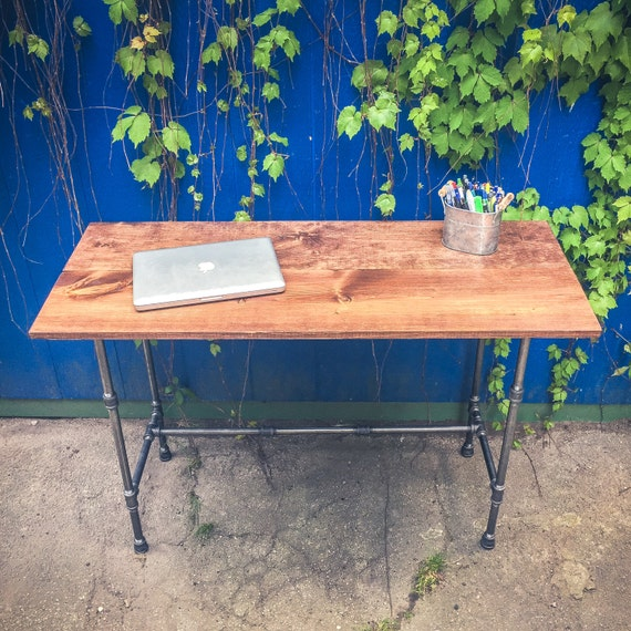 desk | pipe and wood coffee table | rustic industrial desk | reclaimed ...