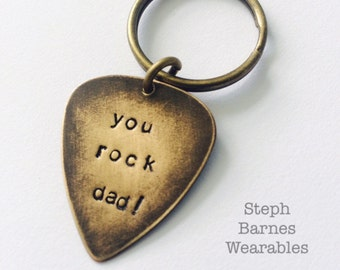 You rock dad keychain or necklace in bronze