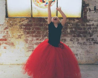 Girl's Ruby Red Full Length Tutu Skirt
