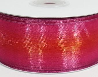"""1 1/2"""" Two Toned Sheer Ribbon - Hot Pink - 25 Yards"""
