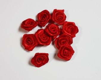 Satin Red Mini Roses, Miniature Craft Ideas, Ribbon Flower Roses Design, Wedding Bouquets Supplies