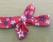 Custom made knot tie headband ~ patriotic headband~ infant headband ~ child headband ~ adult headband