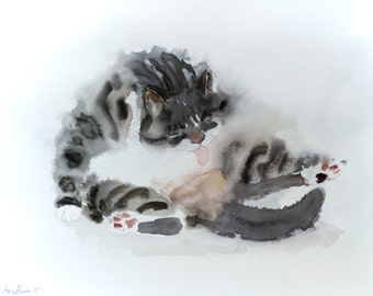 Grooming tabby - original watercolor painting on watercolor paper