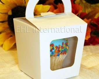 """Cupcake Muffin Box Gift for Wedding favors Bridal Baby Shower Party 3""""X3""""X3"""" White 25pcs"""
