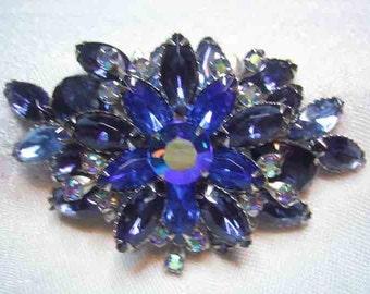 Vintage D&E Juliana Rhinestone Brooch Light Dark Blue