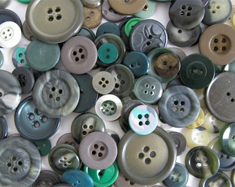 50 Green Vintage Buttons