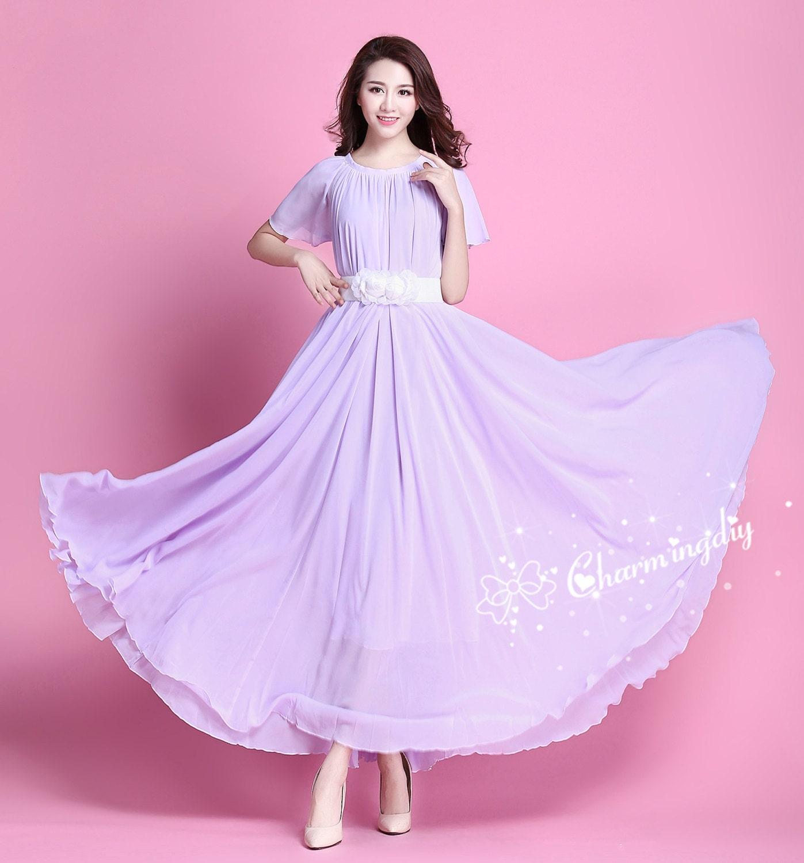 60 Colors Chiffon Light Purple Short Sleeve Long Party Dress