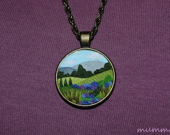 Tuscany landscape - polymer clay necklace