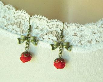 Earrings red Amalia handmade