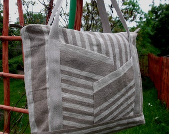 Burlap linen tote bag striped linen teacher shoulder books bag zippered closure linen gift idea