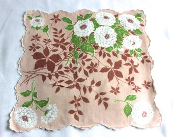 Vintage light brown linen handkerchief with scalloped hem and large white floral design