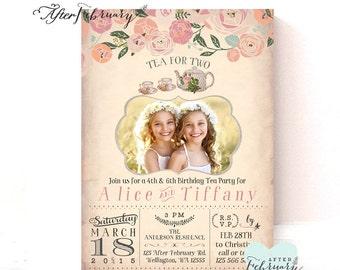 Photo Birthday Tea Party Invitation // Tea for Two Invitation // Vintage Peach Background // Tea Party Invite // Printable No.950KIDS