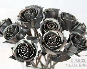 Steampunk Wedding Bouquet, Dozen Sweetheart Rose Bouquet, Metal Rose Bouquet, Bridesmaid Bouquet, Wedding Gift, Wedding Centerpiece