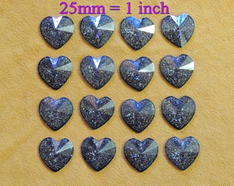 25mm = 1 inch Black glitter resin sew on hearts