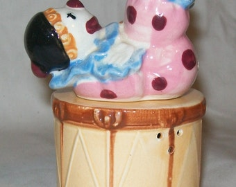 Vintage Clown on a Drum Salt and Pepper Shakers
