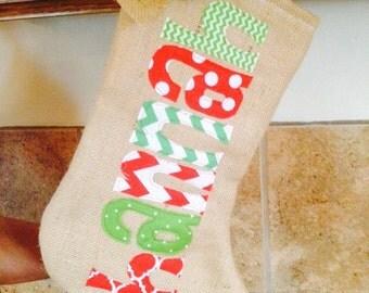 Burlap stockings, Appliqued Christmas Stocking, Personalized Stocking, Custom Christmas