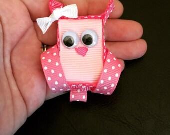 Owl cutie Pink Ribbon Sculpture 3d Bow.