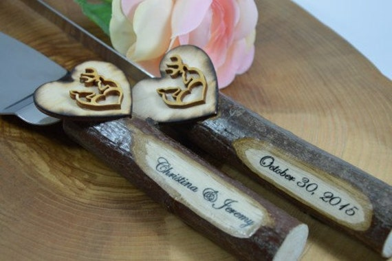 rustic wedding cake knives wood rustic wedding cake knife setwedding deerwooden 19544