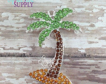 Palm Tree Summer Chunky necklace pendant hard to find Bubblegum rhinestone pendant